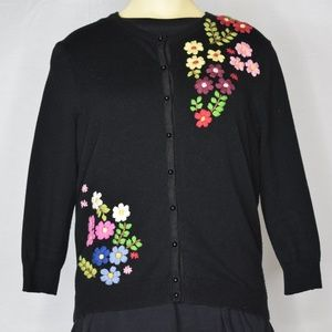 Lucky Brand   Black Floral Long Sleeve Sweater L